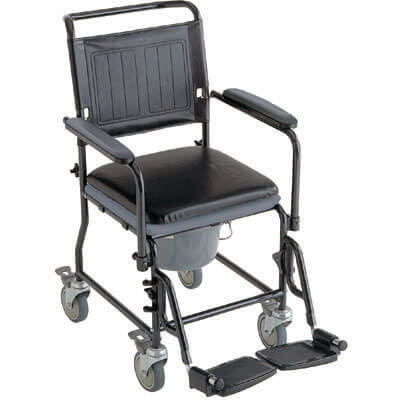 Mobile Commode Chair with 4 Brake Castors