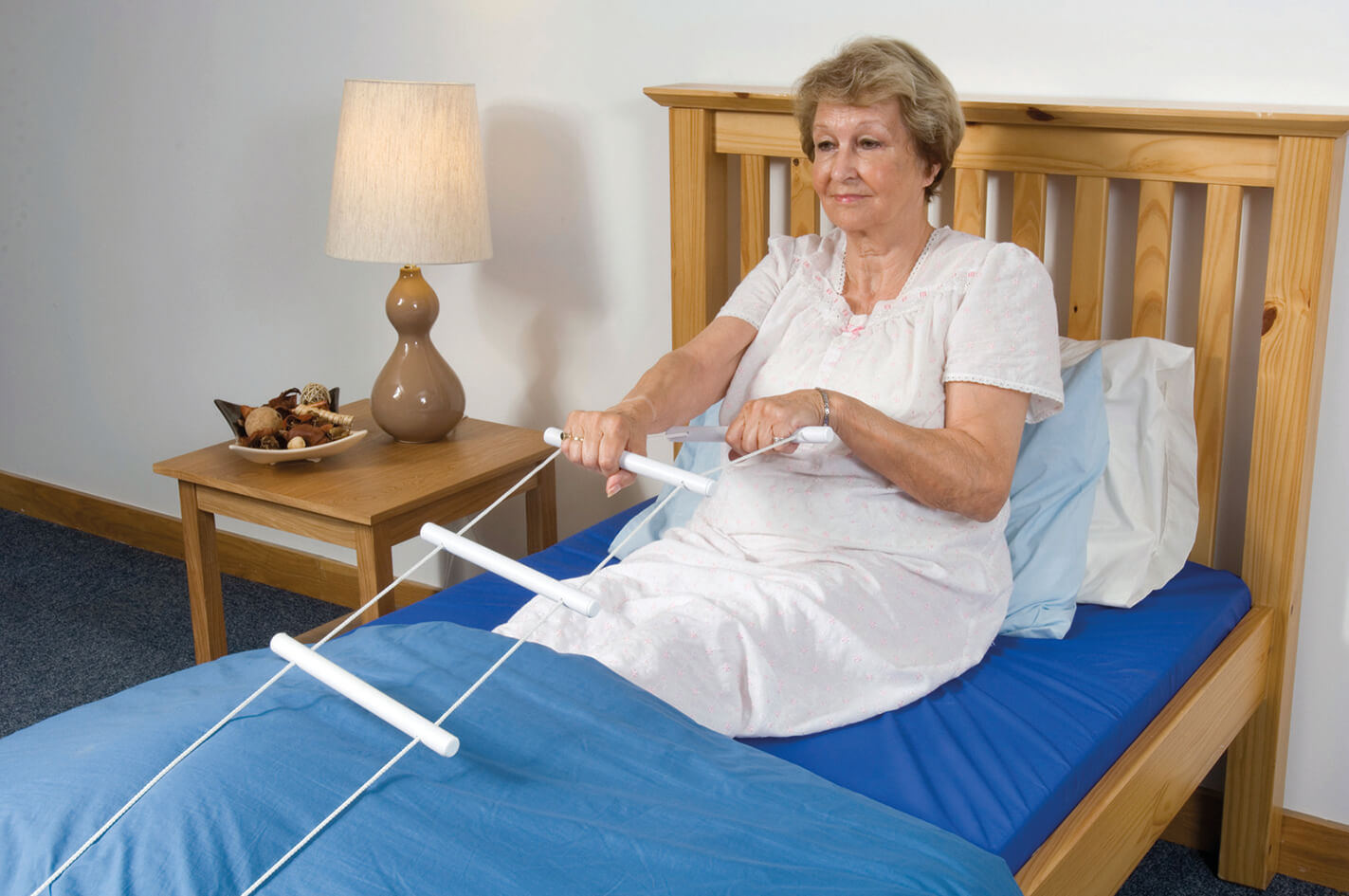 Lady using Bed Rope Ladder
