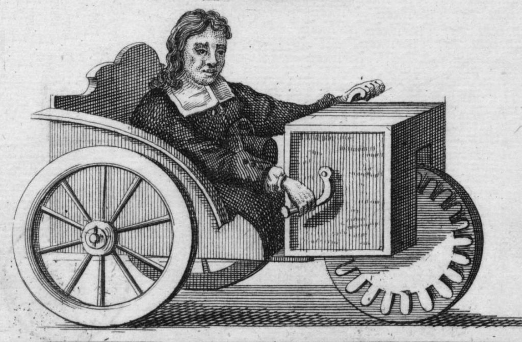 A drawing of Stephan Farfler's wheelchair