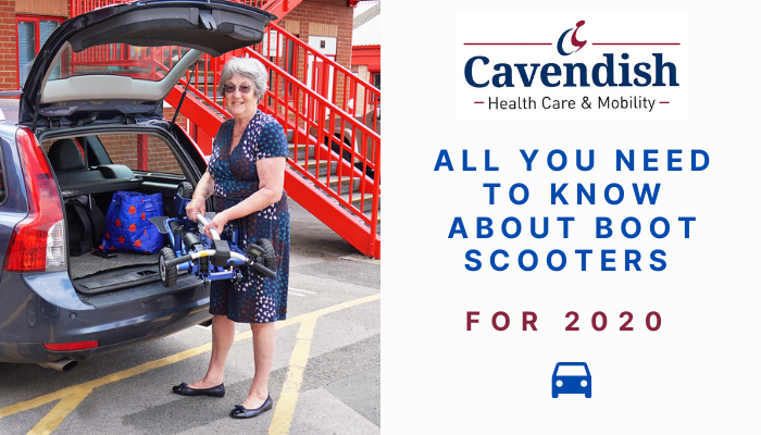 A blog graphic with an OAP lifting a mobility scooter into her car boot.  The text reads 'All you need to know about boot scooters for 2020'